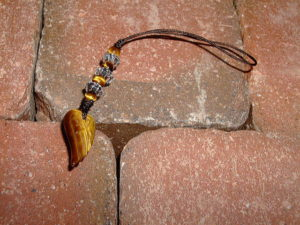 タイガーアイストラップ 虎目石ストラップ 羽根
