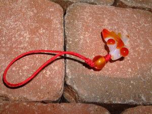 カーネリアンストラップ 紅玉髄ストラップ 金魚 CARNELIAN